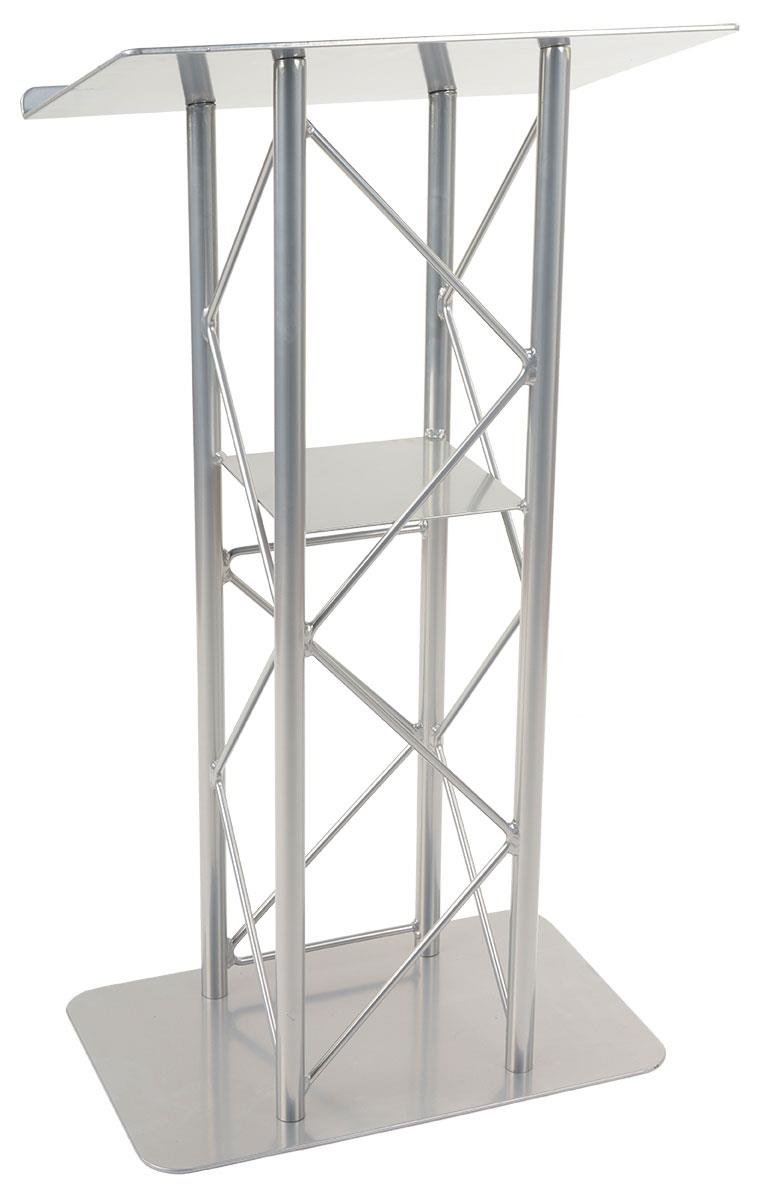 Displays2go 25-Inch Truss Floor Lectern with Interior Shelf Aluminum and Steel – Silver LCT4PSTPSL