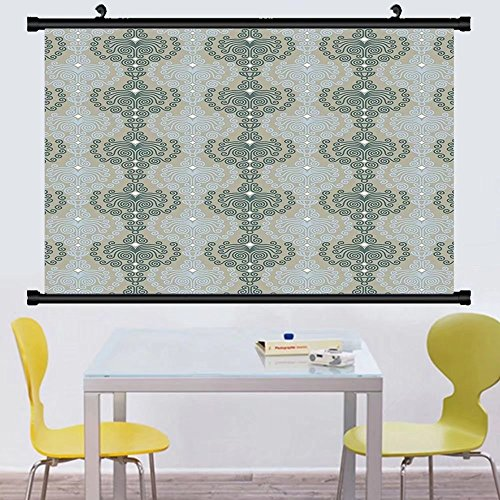Gzhihine Wall Scroll Decorative Abstract Art Damask Decor Floral Ornament Background Wallpaper Pattern Print Wall Hanging Blue and Taupe (Michael Floral Print)