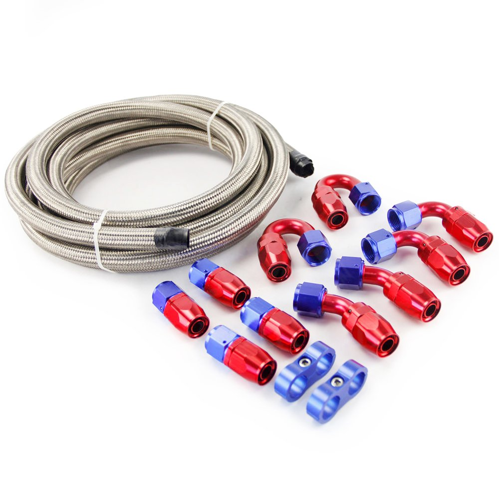 SUNROAD 8AN 15Ft Universal Braided Oil Fuel Line Hose Stainless Steel Nylon w/10PC Swivel Fitting Hose Ends & 2PC Hose Separators Kit