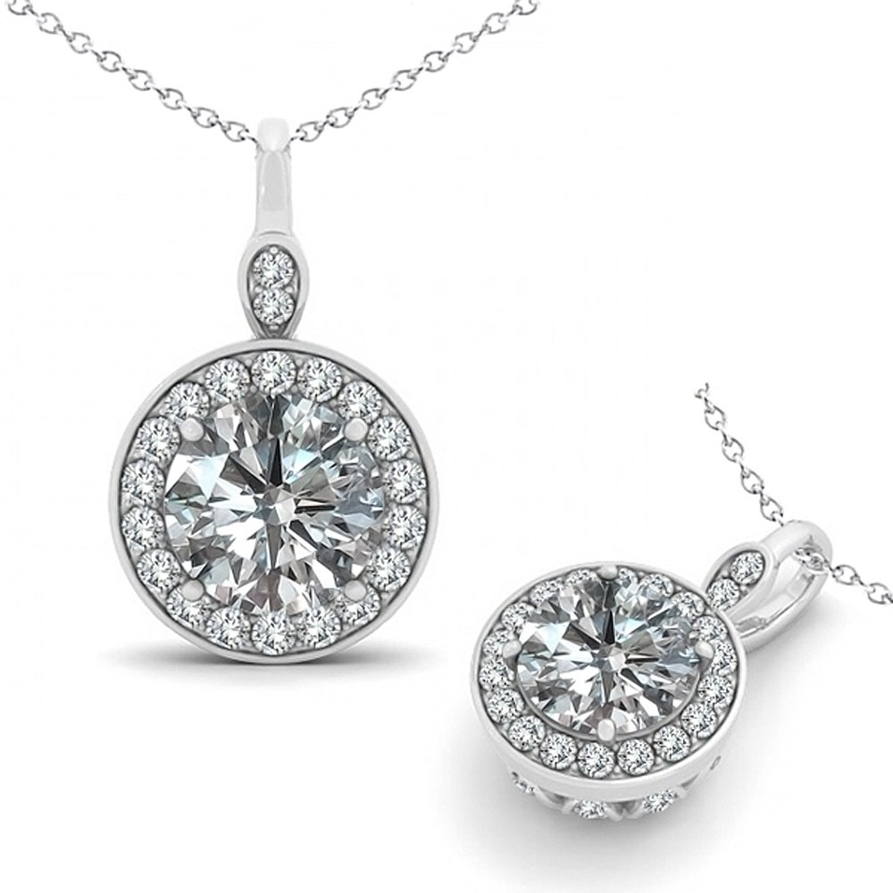 0.75 Carat G-H Diamond Round Halo Channel Pendant Necklace With 18'' Chain 14K White Gold