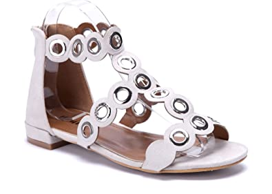 74146c2bc33a38 Schuhtempel24 Damen Schuhe Sandalen Sandaletten beige flach Nieten 2 cm