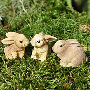 Darice Yard And Garden Minis Rabbits Resin 3 Pieces Tan 1 X 1 Inch