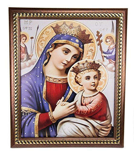 Framed Virgin Mary and Baby Jesus Wall Picture Padded Plaque Holy Land 11.4