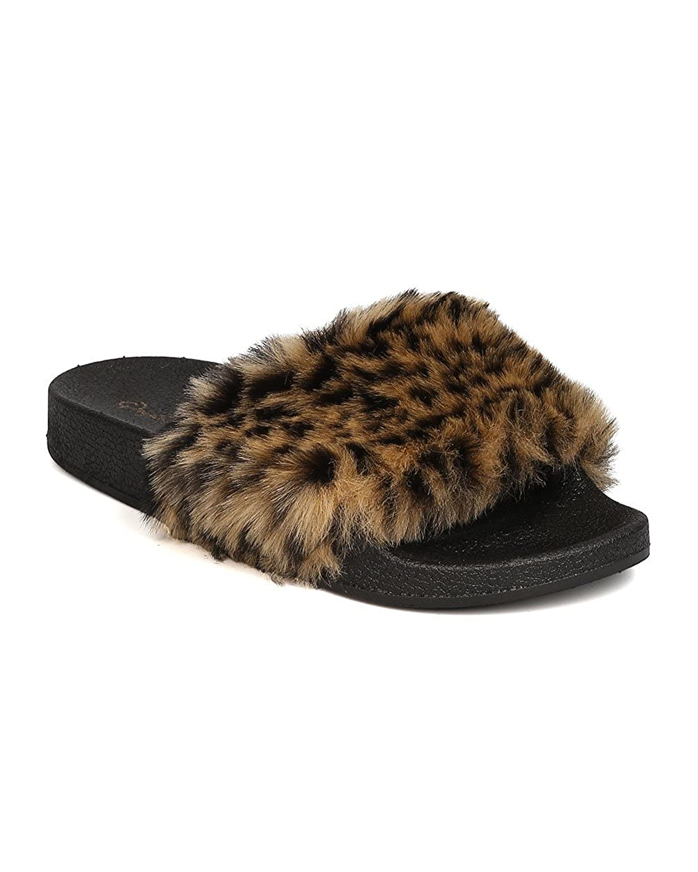 a383264bfd572 Women Leopard Faux Fur Open Toe Fuzzy Sandal GA32 - Leopard