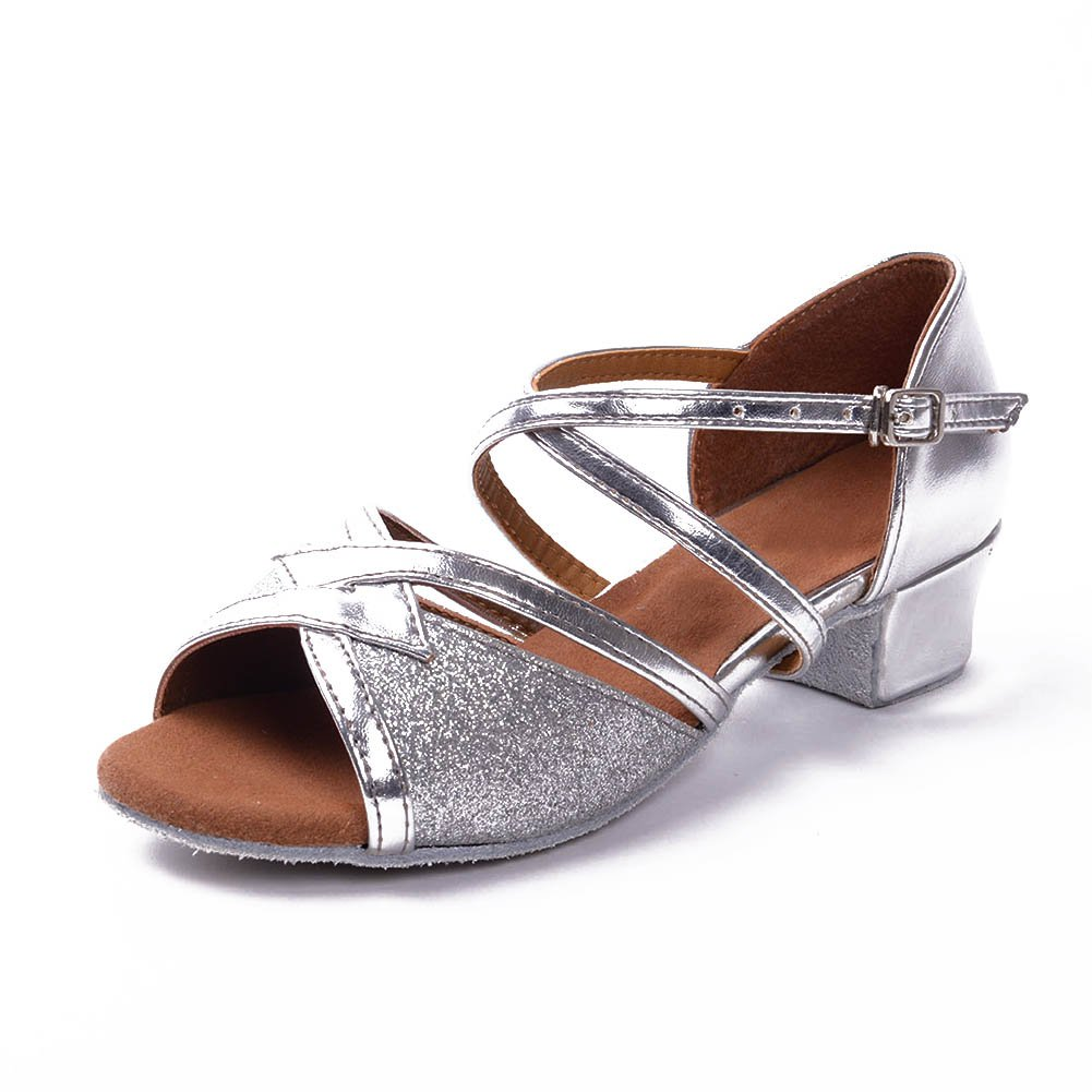 Girls Latin Salsa Dance Shoes ballroom,Heel 3.5CM,Silver,5M US,Big Kid