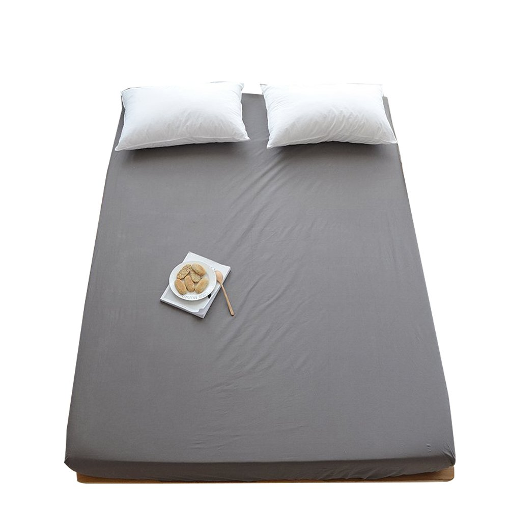 ORoa 100% Cotton Solid Children Fitted Sheets Soft Single Deep Fitted Bed Sheet Twin Full Queen Size (Full/Queen, Grey)