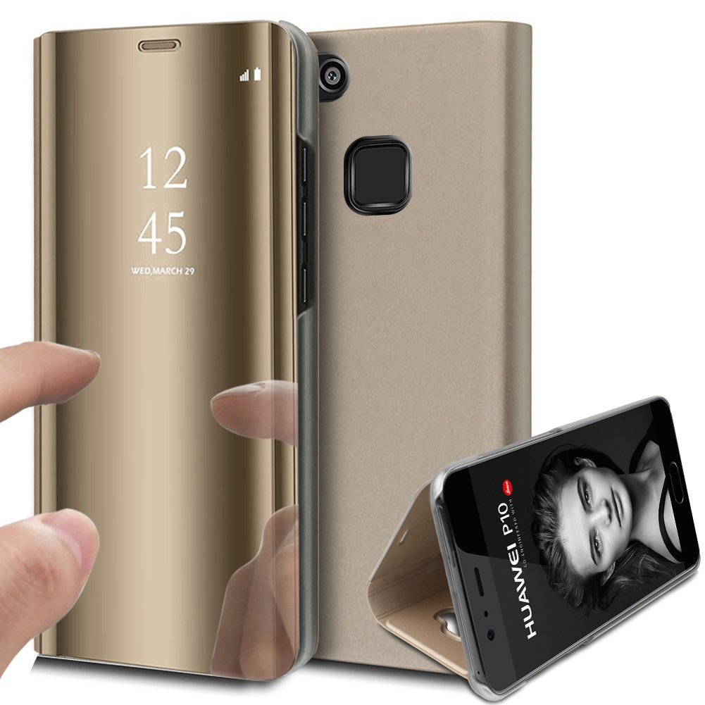 Huawei P10 Lite Case,Huawei P10 Lite Cover,ikasus Ultra-Slim Luxury Shock-Absorption Plating Mirror Makeup Case Cover PU Leather Flip Stand Kickstand Protective Case Cover for Huawei P10 Lite,Gold