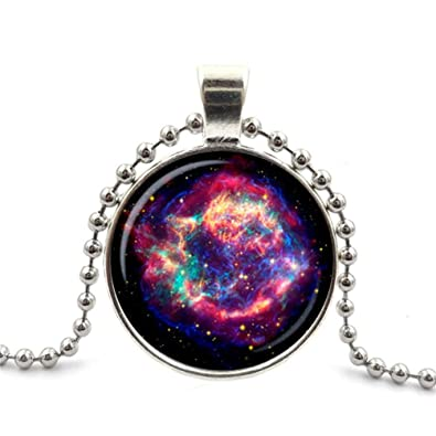 ad36cb1773317e Adjustable Sterling Silver Necklace Nebula Galaxy Space Turquoise White  Alloy Pendant Glass Necklace Choker Silver Plating