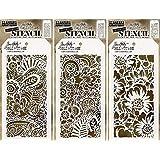 Tim Holtz Stencils Set - Doodle Art 1, Doodle Art 2 and Bouquet - 3 Item Bundle