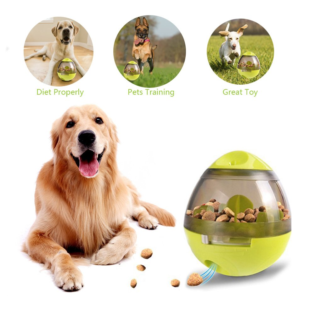 Albabara Interactive Dog Toys, Slower Feeder Dogs Bowl Treat Dispenser Cat Puppy Toy with Thumber Design Food Storage Ball, Pet Teething IQ Training Dispensing Balls, ABS 3.9'' x 4.6'' Green