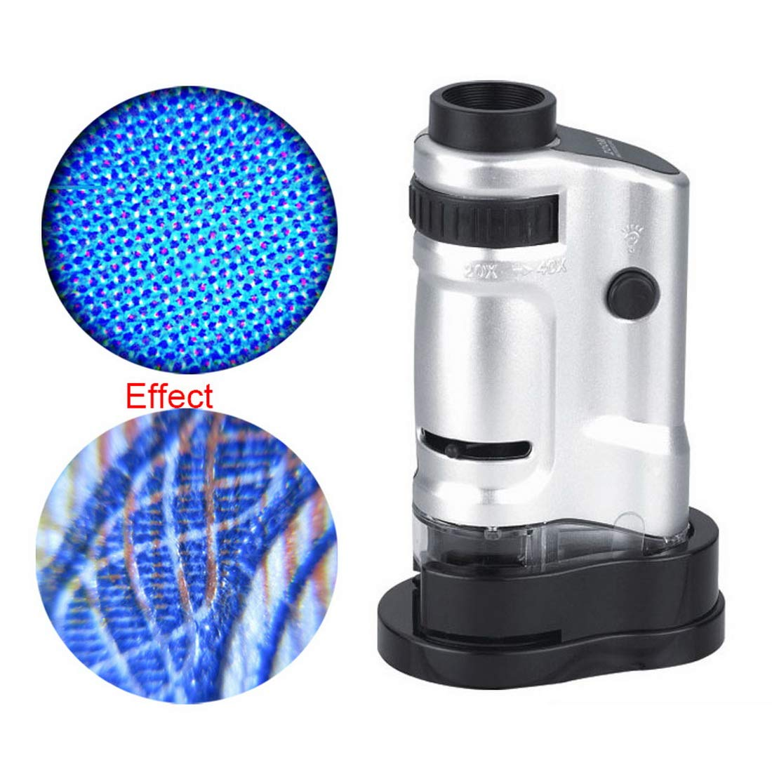 Loweryeah 20x-40x LED Lighted Pocket Microscope for Learning, Education and Exploring