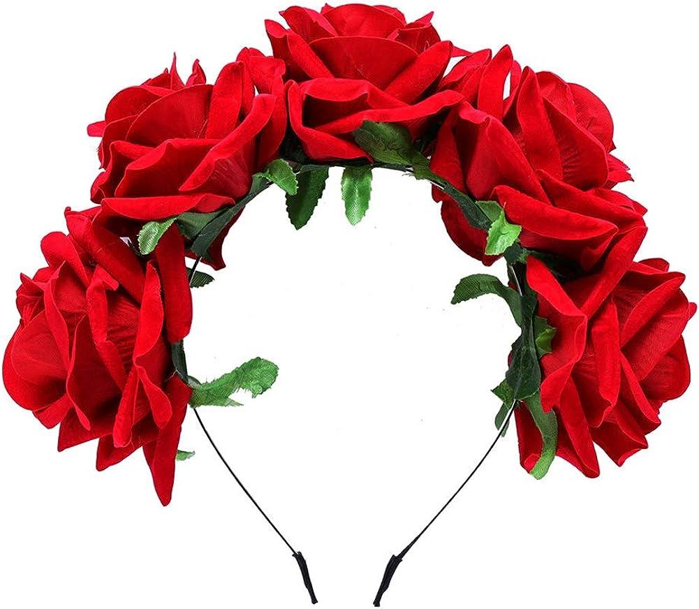 Gysad Diademas mujer Forma de rosa Diademas de flores Hermosa y ...