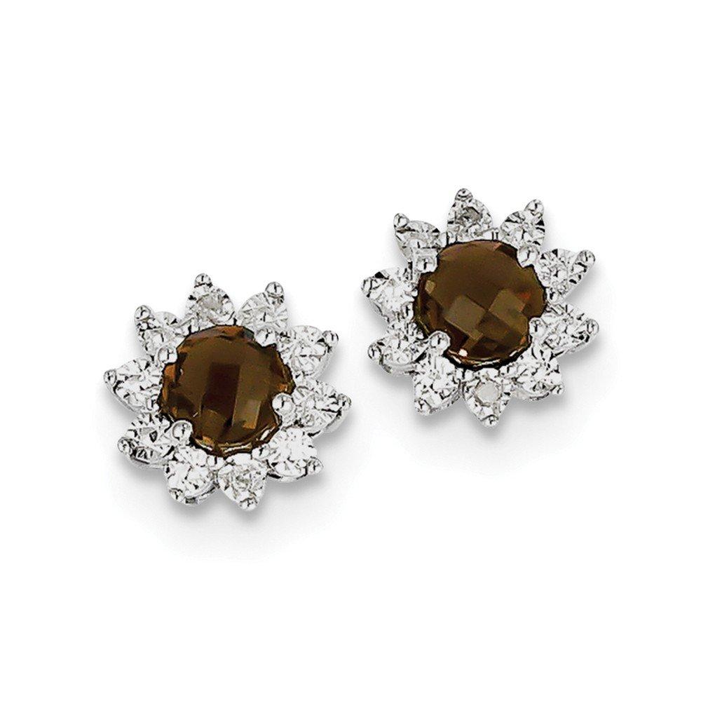 Sterling Silver Rhodium-plated Diamond Smoky Quartz Earrings