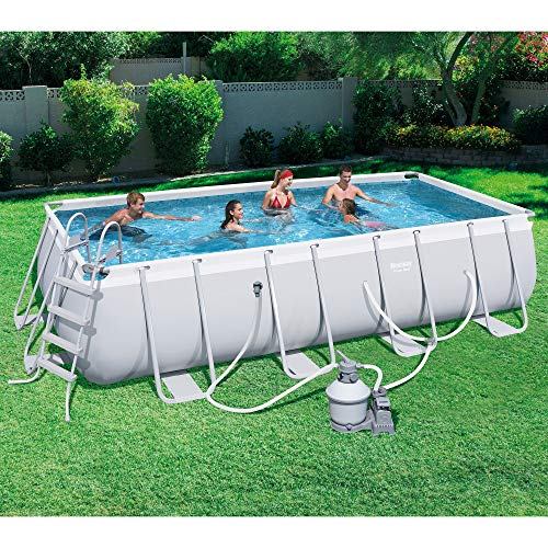 Bestway 18ft x 9ft x 48in Rectangular Frame Above Ground Pool with Filter,  Ground Cloth, Cover, Ladder, Garden Hose Drain Adaptor, and Chemconnect ...