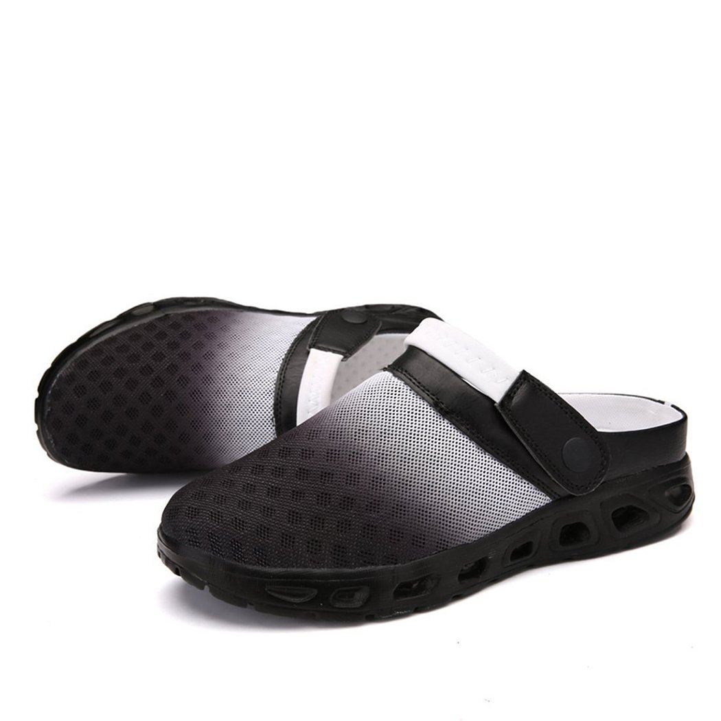 CCZZ Men's and Women's Summer Breathable Mesh Beach Sandals Slippers Quick Drying Water Shoes Amphibious Slip On Garden Shoes B07C2SVY3X US 7=EU 40|Black