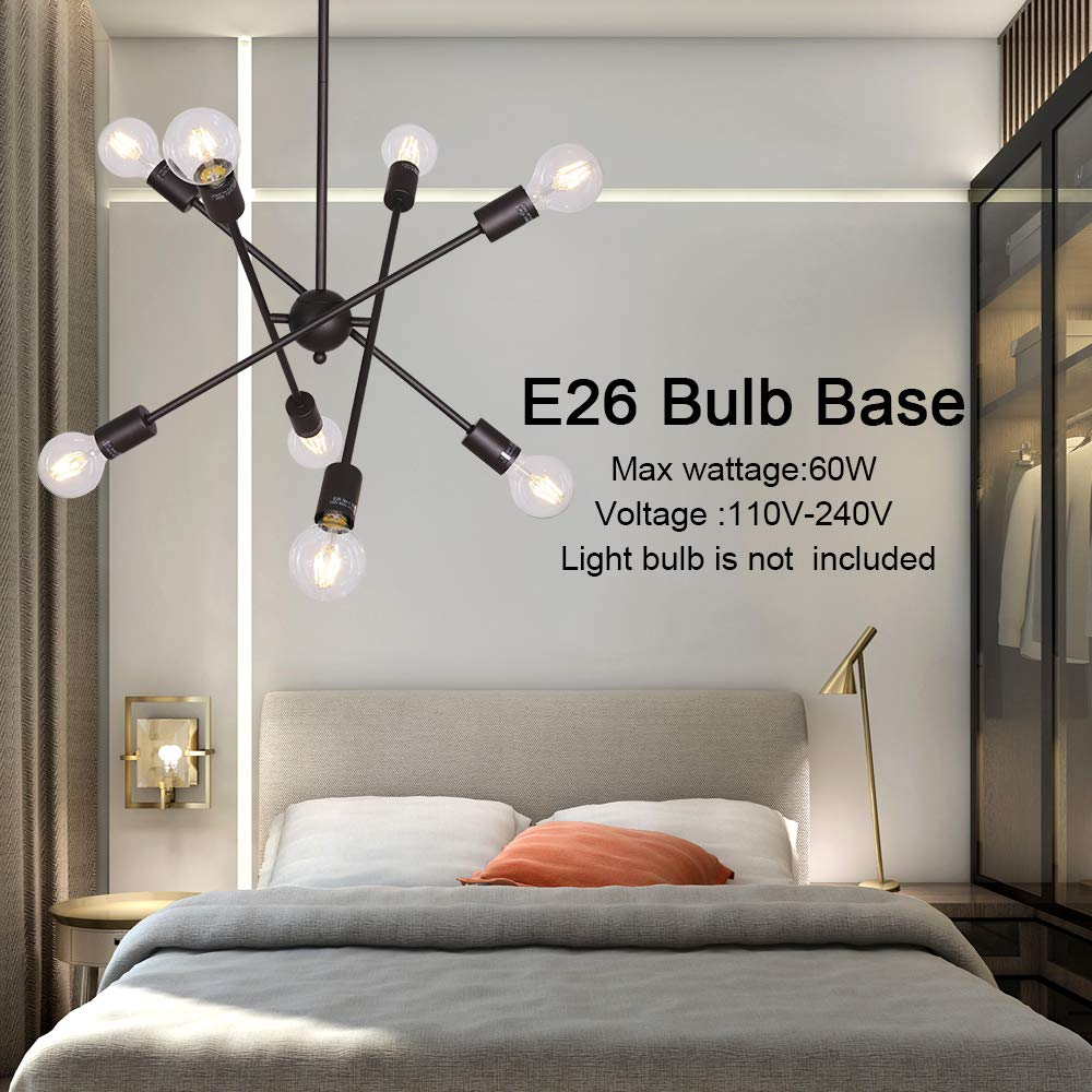 BONLICHT Oil-Rubbed Bronze Sputnik Chandeliers 8 Light Vintage Industrial Semi Flush Mount Ceiling Light Mid Century Modern Pendant Lighting for Kitchen Dining Room Foyer Hallway