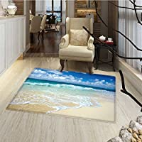 Wave Door Mats for inside Beach with Foamy Waves on Empty Sea Shore Holiday Theme Serene Coastal Bath Mat Bathroom Mat with Non Slip 30x48 Blue White Sand Brown
