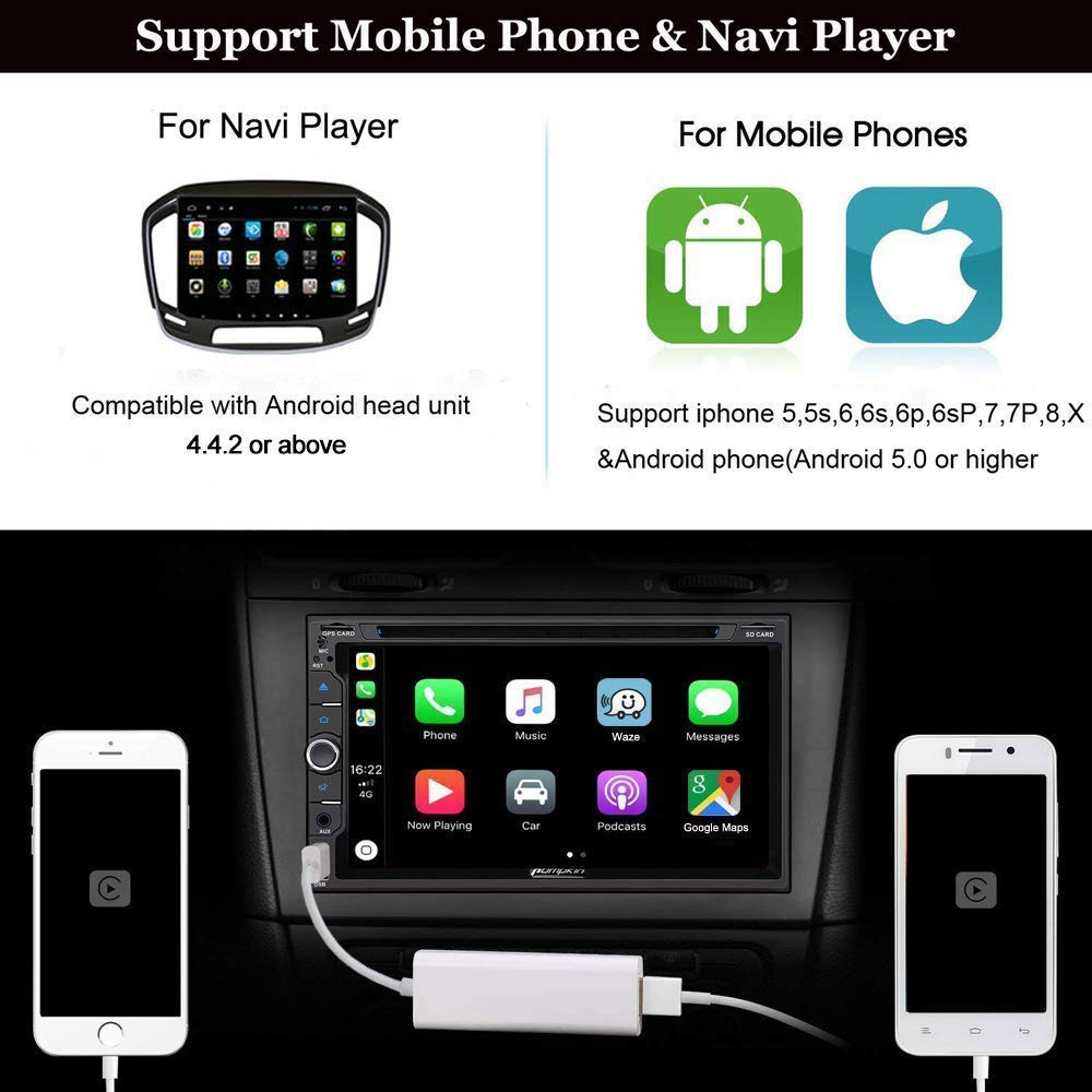 Color Negro Adaptador de Receptor est/éreo USB para Apple Carplay Compatible con Android Auto Mirroring Google y Waze Map para Android Unidad de Cabeza de Coche