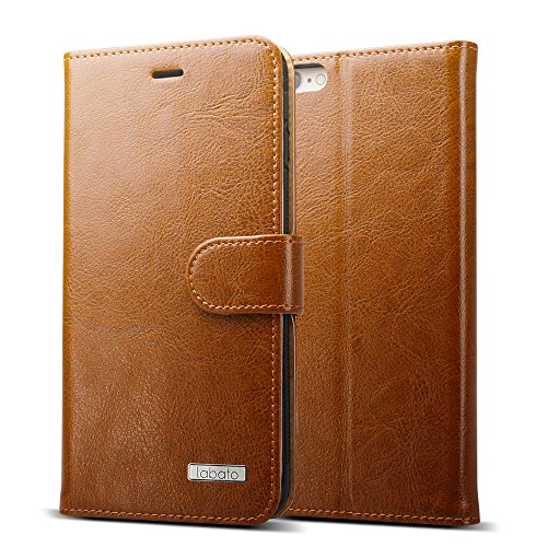 iPhone 6S Case, Labato [Stand Feature] [Wallet Function] [Magnetic Closure] Handmade Premium Genuine Natural Leather Wallet Case Cover with Stand Folio Flip Case Cover for Apple iPhone 6S and iPhone 6 (4.7'') in Vintage Brown (Lbt-IP6-07Z20)