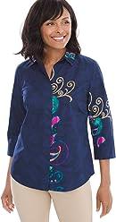 Chico's Women's No-Iron Cotton Button-Back 3/4 Sleeve Shirt
