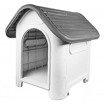 V.JUST - Caseta de plástico para Cachorro, Perro, Gato, casa Resistente a la Intemperie, para Interior y Exterior: Amazon.es: Hogar