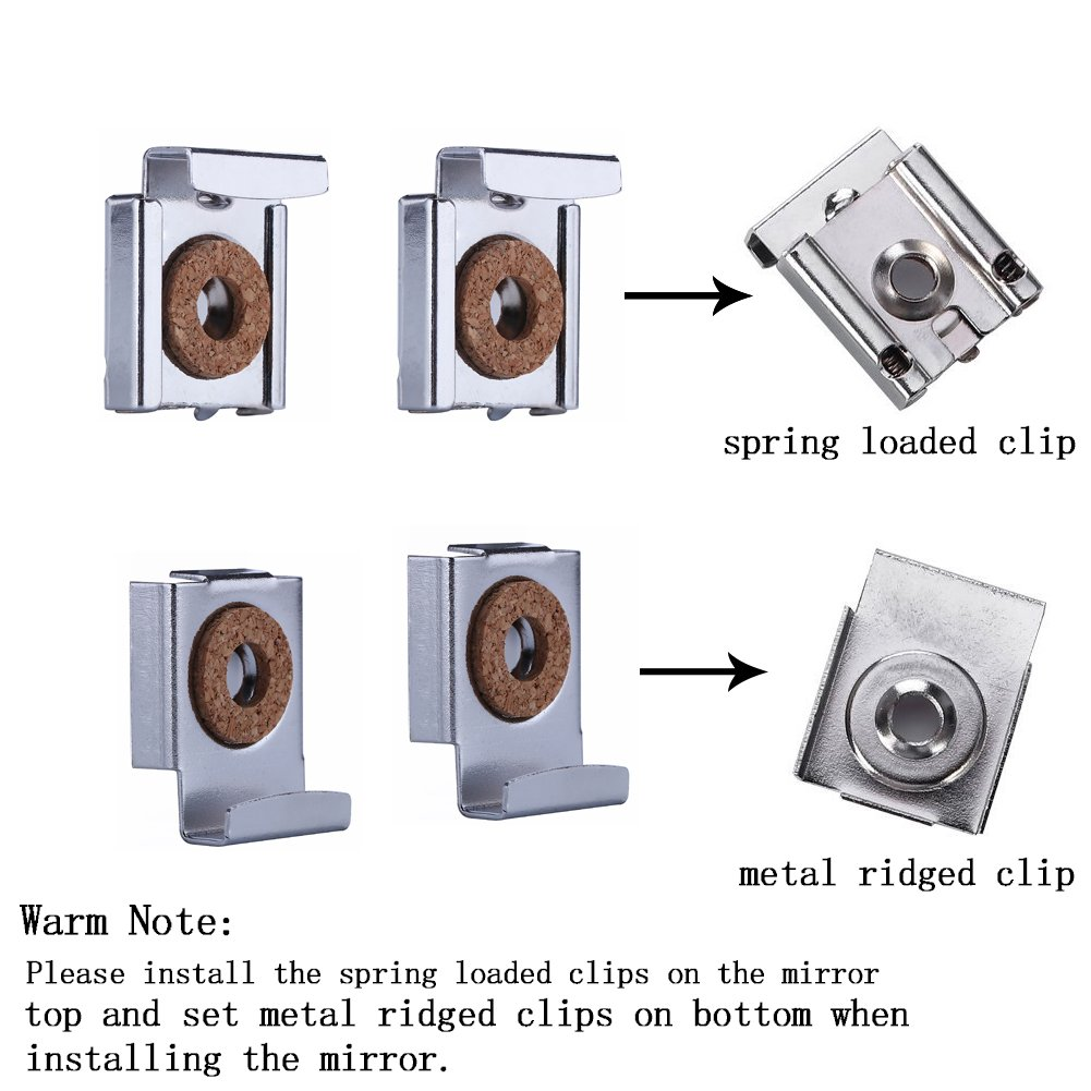 2 sets spring loaded mirror hanger clip set 4 clips per set 2 sets spring loaded mirror hanger clip set 4 clips per set total 8 pieces chrome plated silver amazon amipublicfo Images