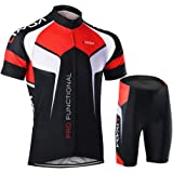 Lixada Men's Cycling Clothes Set Breathable Quick Dry Short Sleeve Bicycle Jersey Shirt+3D Cushion Padded Riding Shorts Tights Pants