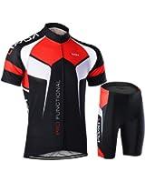 Lixada Men's Cycling Jersey Set Bicycle Short Sleeve Set Quick-Dry Breathable Shirt+3D Cushion Shorts Padded Pants