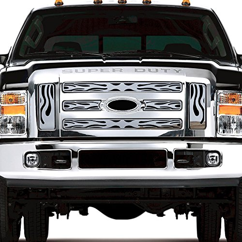 2008-2010 Ford Superduty TRK-125-05-Chrome-a Ferreus Industries Grille Insert Guard Horizontal Flame Polished Stainless fits