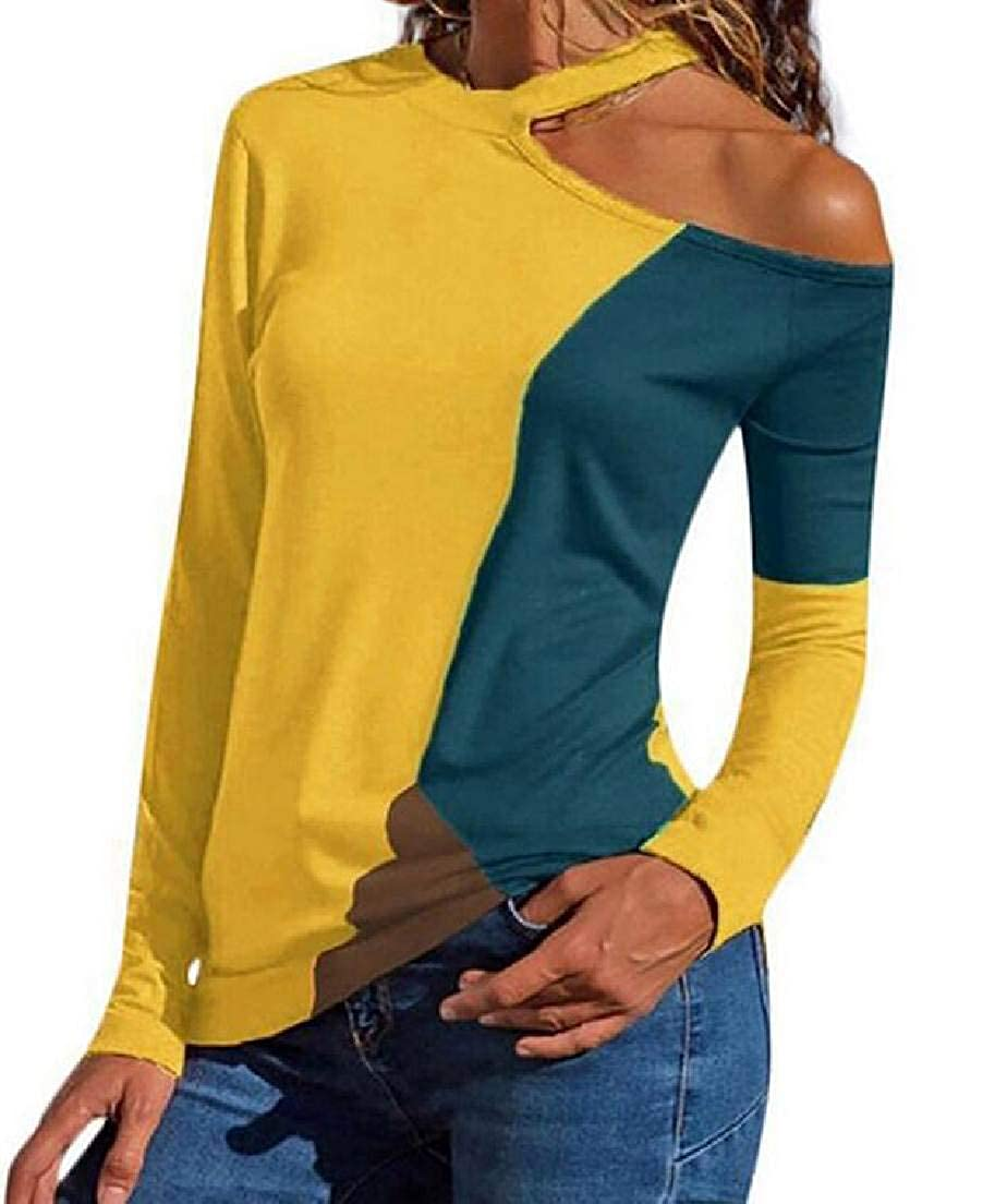 Abeaicoc Womens Long Sleeve One-Shoulder Patchwork Contrast T-Shirt Tops Blouse