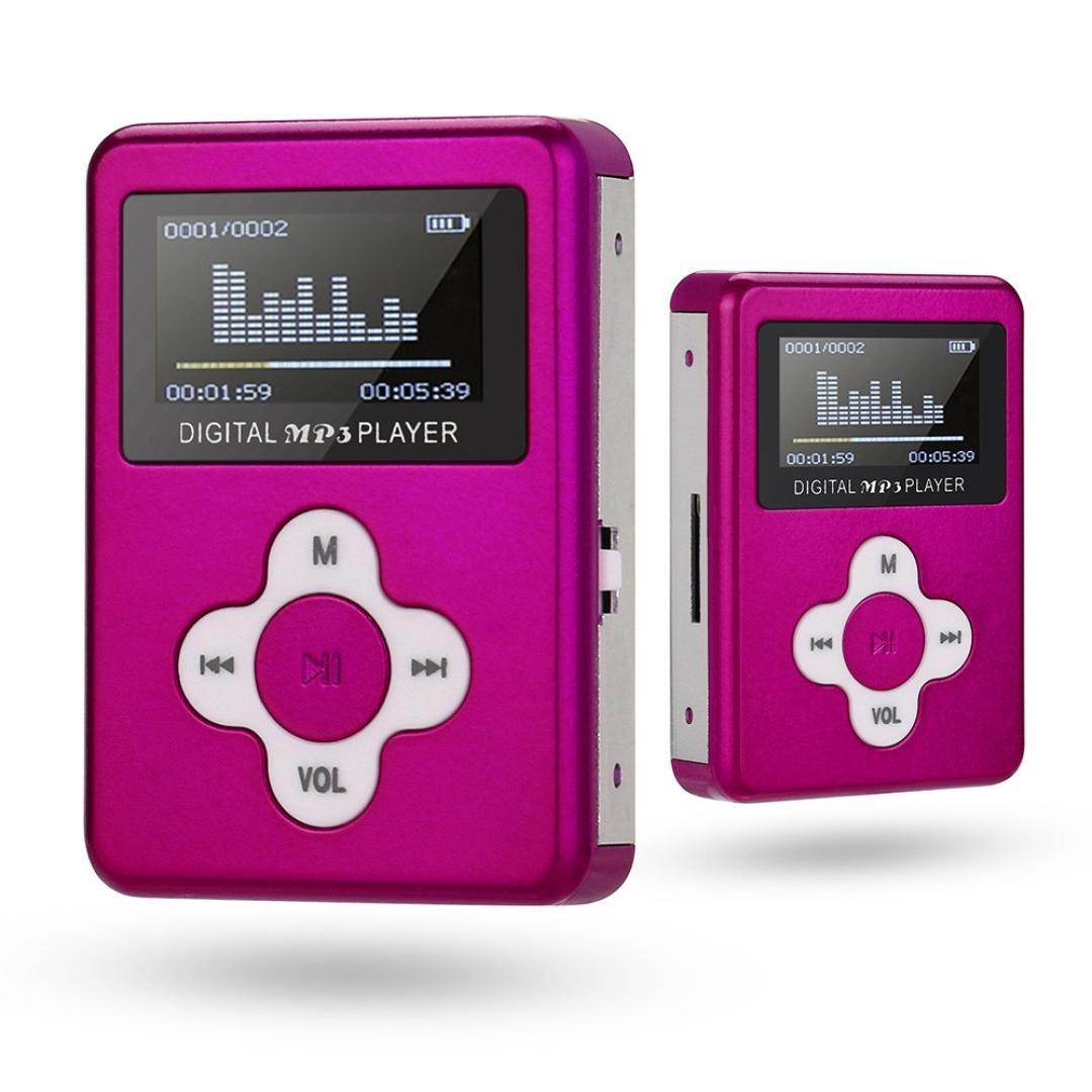 Mostsola USB Mini MP3 Player LCD Screen Support 32GB Micro SD TF Card (Hot Pink)
