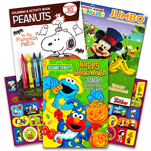 Disney Peanuts Halloween Coloring Books Super Set Kids Toddlers (3 Books Featuring Disney Mickey Mouse, Charlie Brown, Elmo and More!) -