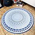 European Simple Fashion Round Area Rug Blue Mediterranean Geometric Patterns Rug and Bedroom Room Chirs Mat