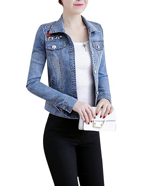 Corto Chaquetas Jacket De Mezclilla Slim Fit Manga Larga Abrigo Denim Jackets Cazadora Vaquera Para Mujer: Amazon.es: Ropa y accesorios