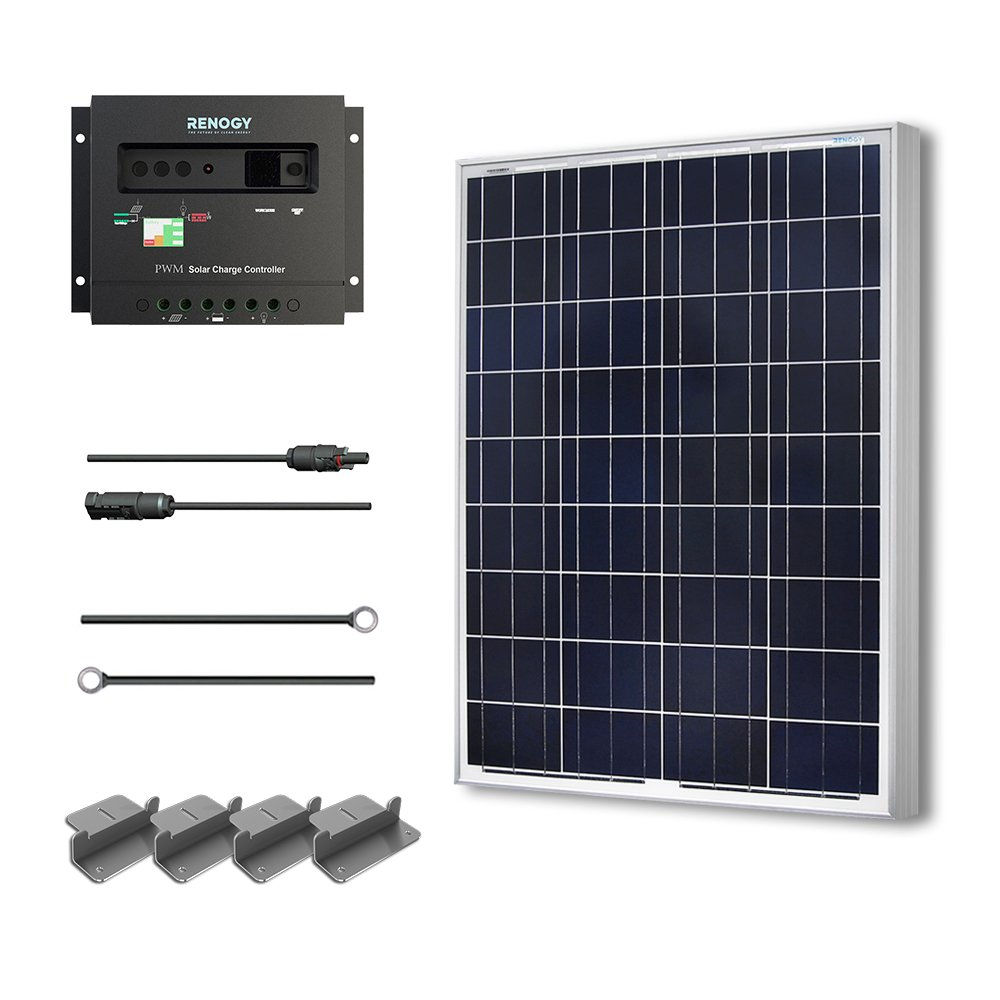 Renogy 100 Watts 12 Volts Polycrystalline Solar Starter Kit w/ 100w solar panel,30A Charge Controller, 8ft 10AWG Tray Cables,Solar Adaptor Kit by Renogy