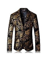 Manluo Men's Suits Coat Gentleman Blazer Printing 2 Button Tux Casual Suit Jacket