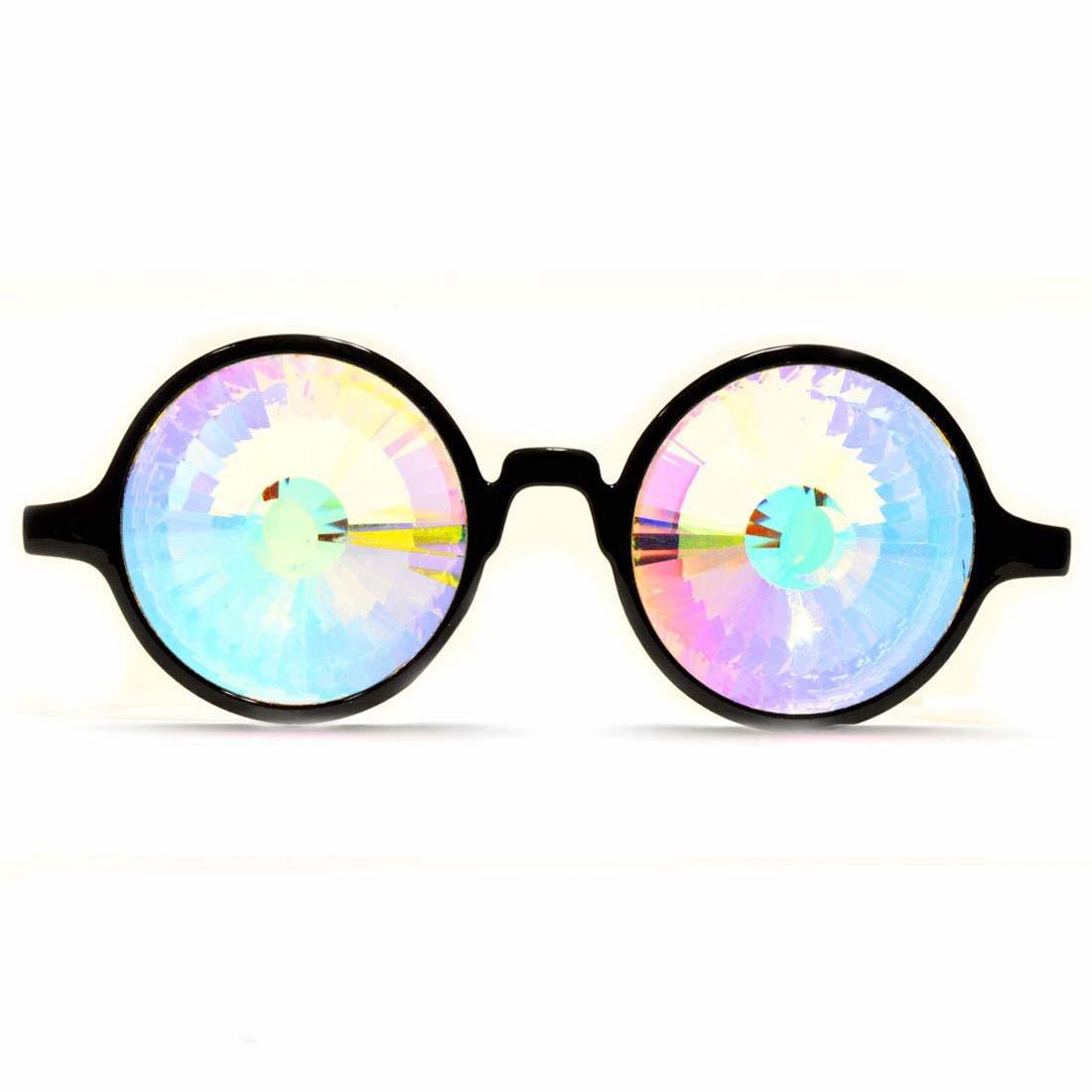 GloFX Black Kaleidoscope Glasses- Rainbow Wormhole by GloFX