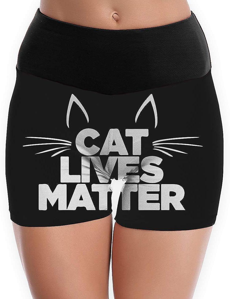 Womens Yoga Shorts Cat Lives Matter Comfy Flex Yoga Shorts