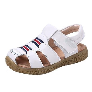 9256f2c2f71bf6 GAXmi Sandales Cuir Garçon Chaussures D'Été Bout Fermé pour Bébé Enfant  Fille, Blanc