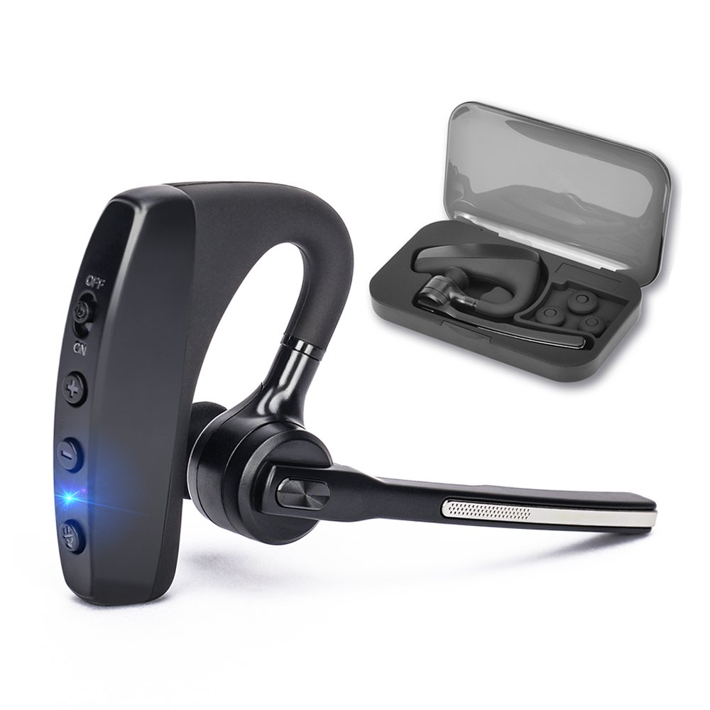 Bluetooth Headset V4.2, SHINETAO Hands-Free Bluetooth Earpiece Cell Phones, 2 HD Microphones Wireless Earpieces Business/Driving/Office, Compatible with iPhone/Samsung/Android by SHINETAO