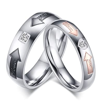 eb9a22ded5 Amazon.com: SAINTHERO Mens Womens Forever Love Promise Band Ring Classic  6MM 316L Stainless Steel Hearts Couples Rings for His or Hers Mate Finish  Comfort ...