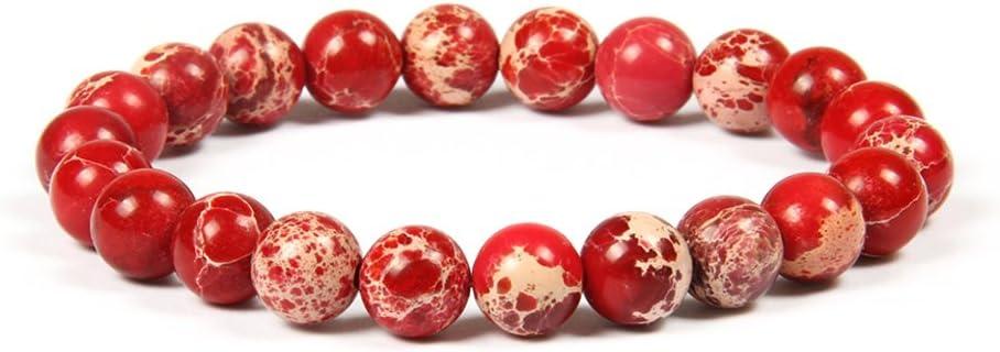 GD GOOD.designs EST. 2015 Buenos DISEÑOS Pulsera de Perlas Chakra de 8 mm o 10 mm de Jaspe de sedimentos Marinos, Pulsera de Jade para Hombres y Mujeres. (Rojo 8mm)