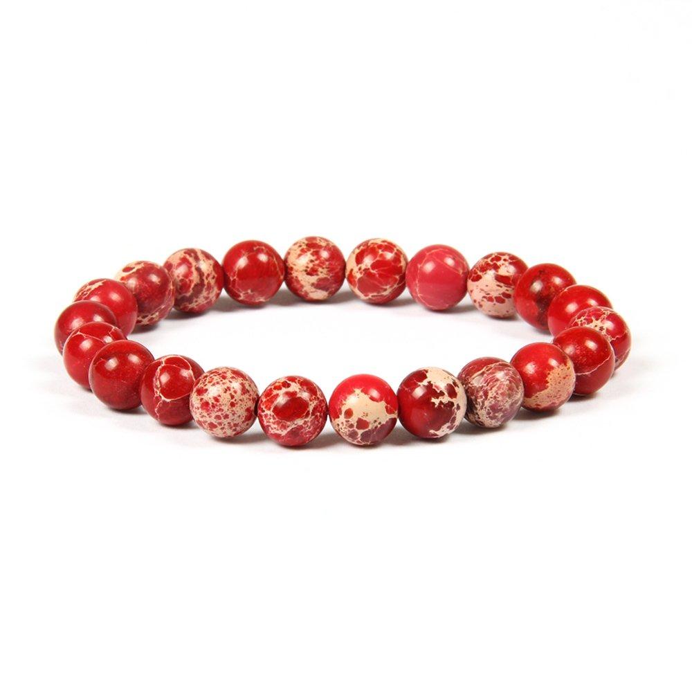 GD GOOD.designs EST. 2015 ® Chakra pearl bracelet made of 8 mm or 10 mm marine sediment jasper natural stones, jade chakra bracelet for men and women