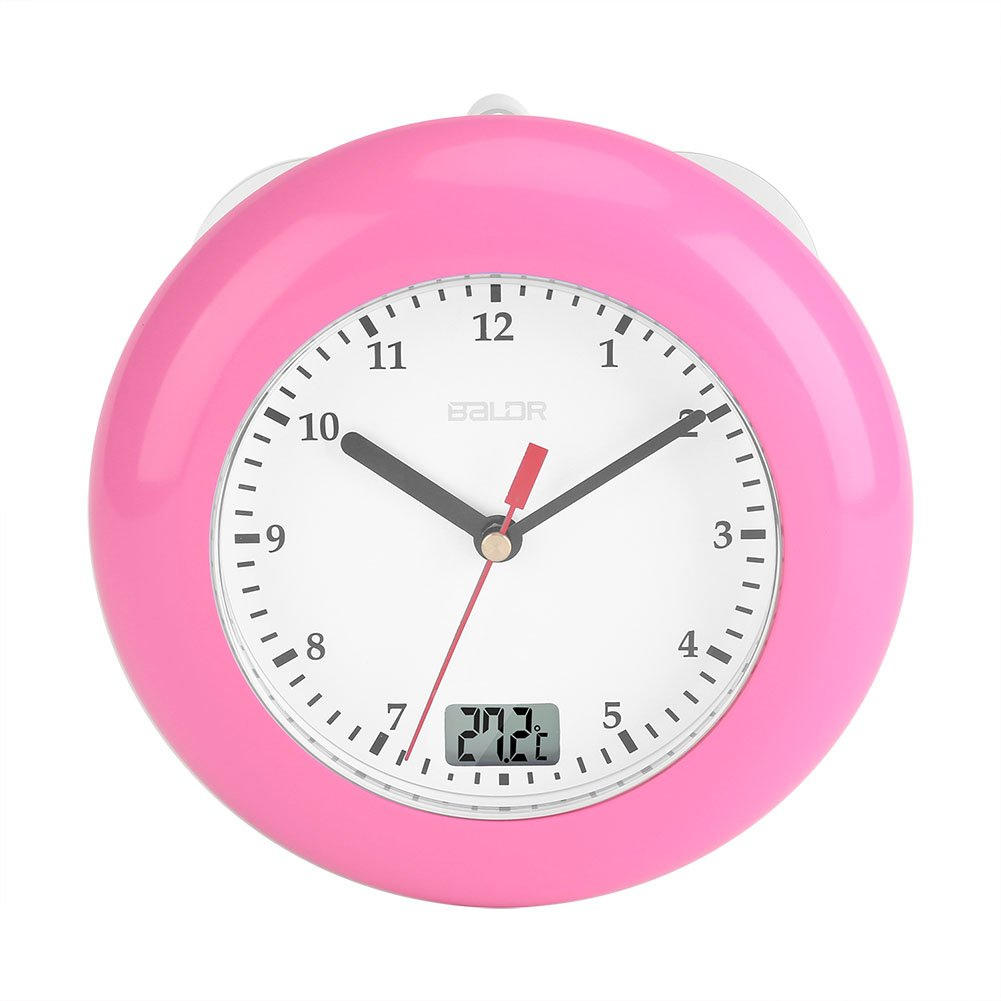 Zerodis Waterproof Bathroom Shower Wall Clock Suction Cup Display Time Temperature(Pink)