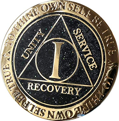 - 1 Year AA Medallion Reflex Black Glitter Gold Plated Color Chip