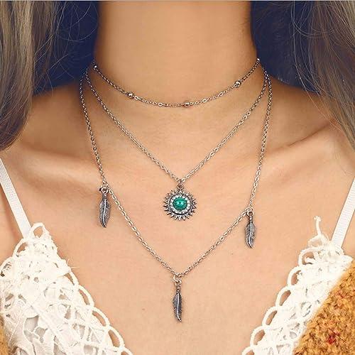 Boho Fashion Multilayer Silver Chain Choker Necklace Women Sun Pendant Jewelry
