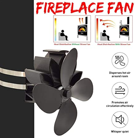 Ecisi Kit ventole termoventilanti per Stufa a Parete a 4 Pale ventilatori per Stufa a Legna Funzionamento Silenzioso in Alluminio Ecologico per Camino a Legna e distribuzione efficiente del Calore
