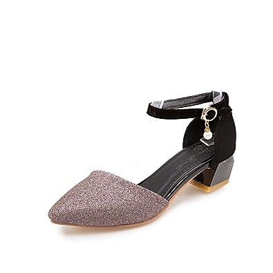 QINX Frauen Spitze Zehe Blockabsatz Schuhe