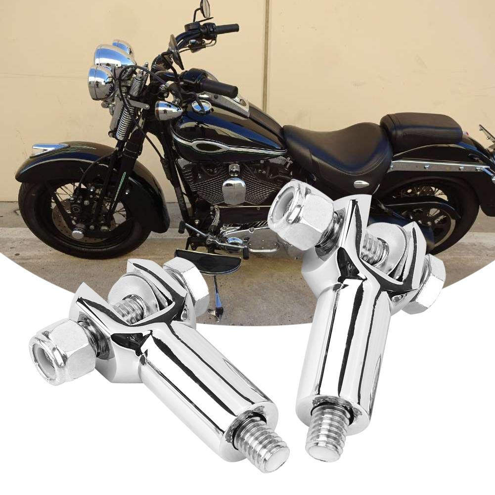 Qii lu 1 Pair Motorcycle Foot Peg Supports Motorcycle Rear Passenger Foot Peg Supports Mounts for 2000-2006 Silver