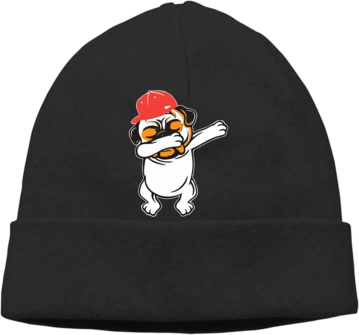 GDSG5/&4 Funny Pug Dabbing Dad Hip Hop Dog Women and Men Thick Running Beanie Hat